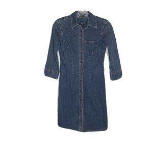 Gap Jean Dress 0 Vintage Sp 01 Sheath Denim Button